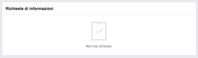 richieste informazioni facebook